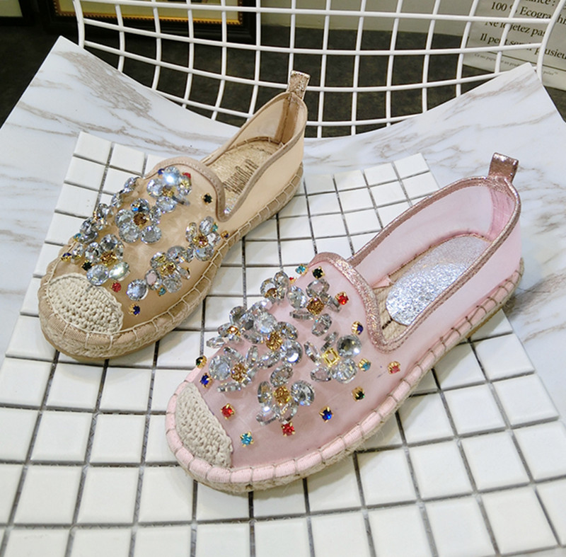 Kvinnor Casual Shoes Mode Rhinestone Women Shoes Mjuk Slip On Loafers - Damskor - Foto 4