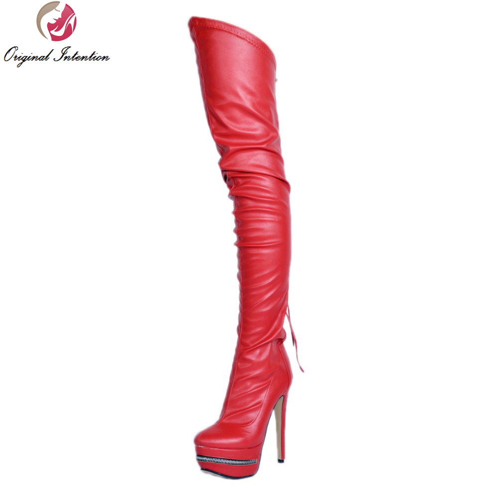 Original Intention Sexy Women Over the Knee Boots Round Toe Thin Heels Boots Red Wine Red White Shoes Woman Plus US Size 4-15 original intention winter women over the knee boots fashion height increasing boots elegant wine red shoes woman us size 4 15