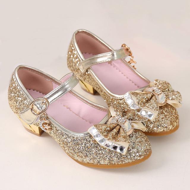 5Colors Children Princess Sandals Kids Girls Wedding Shoes High Heels Dress Shoes Bowtie Gold Shoes For Girls