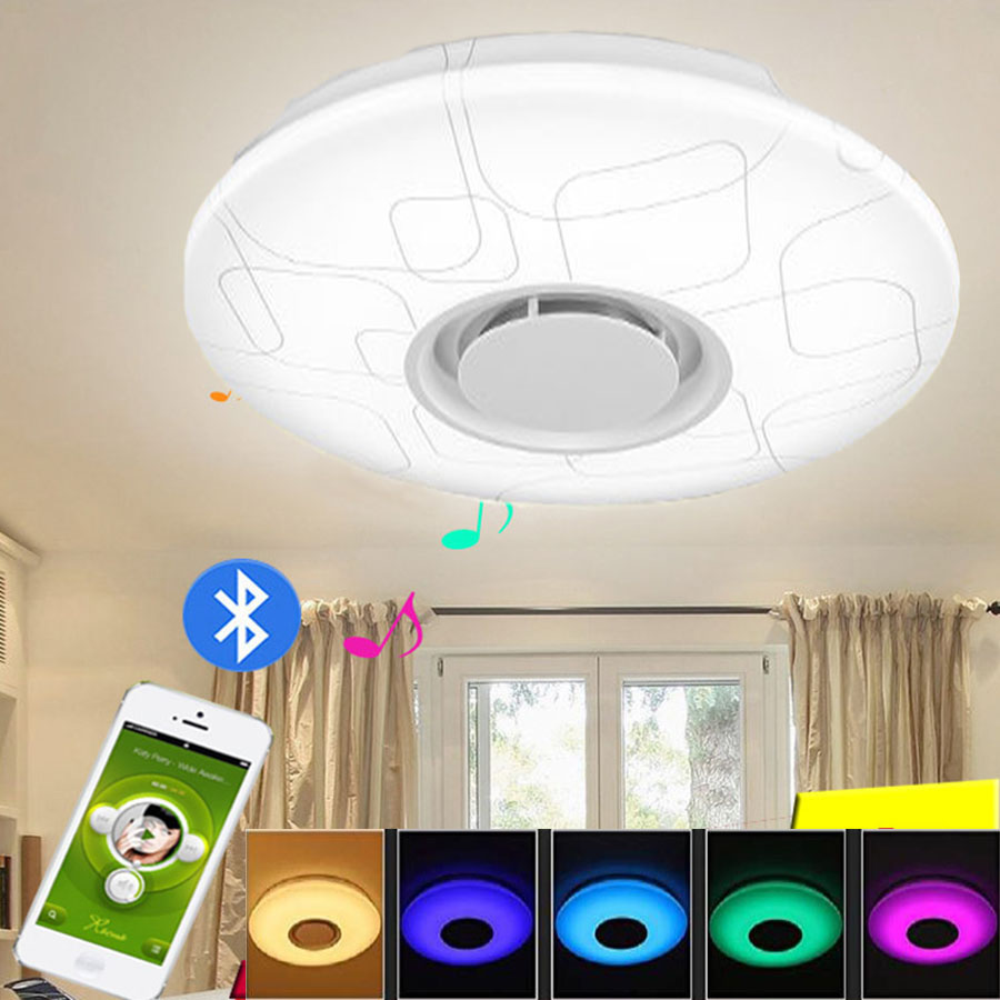 Fast Deliver Dimmable Led Music Ceiling Lamp With Bluetooth Speaker 24w Color Changing 95-265v Home Party Lighting Flush Mount Ceiling Light