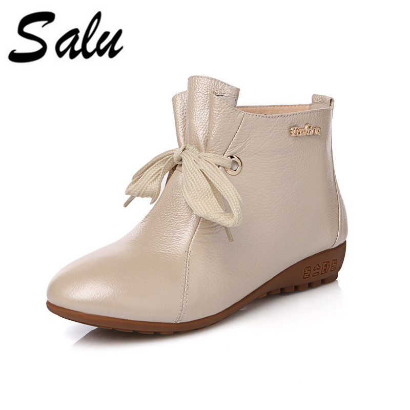 Salu New Women High Heels Ankle Boots Genuine Leather Shoes Short Plush Inside Autumn Fashion Black Botas bacia women high heels ankle boots genuine leather shoes warm short plush inside autumn fashion pure black botas mc023