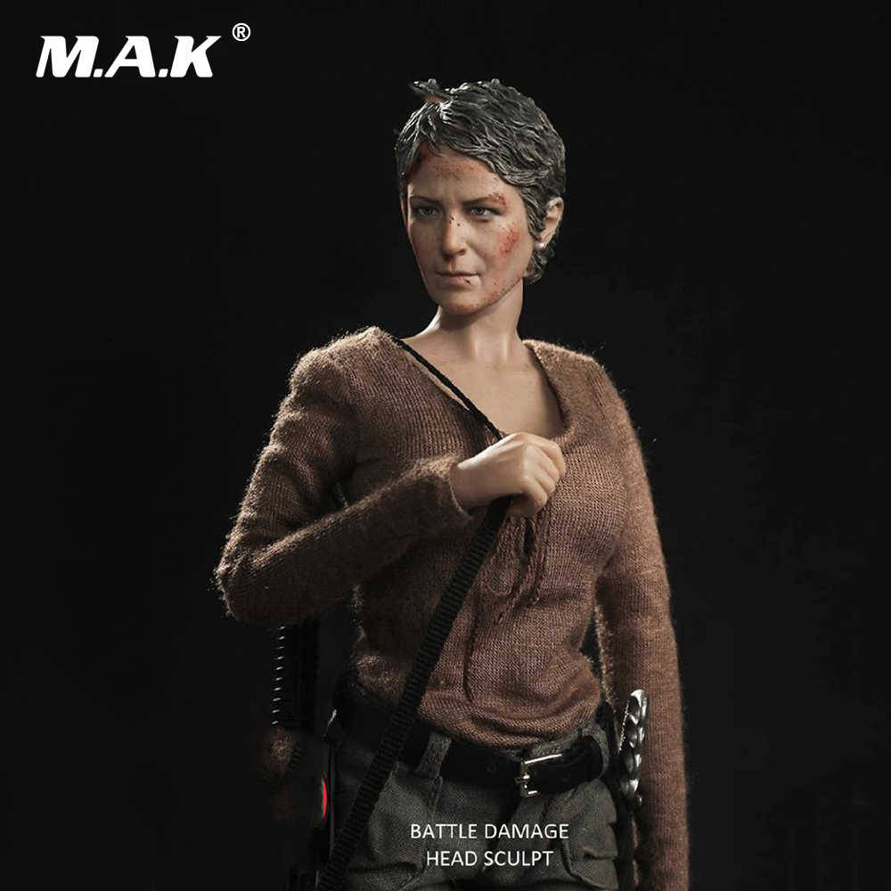 1/6 Scale Female Head Sculpt Carol Peletier Head Carving The Walking Dead Battle Damage Head for 12 inches Action Figure 1 6 female head for 12 action figure doll accessories marvel s the avengers agents of s h i e l d maria hill doll head sculpt