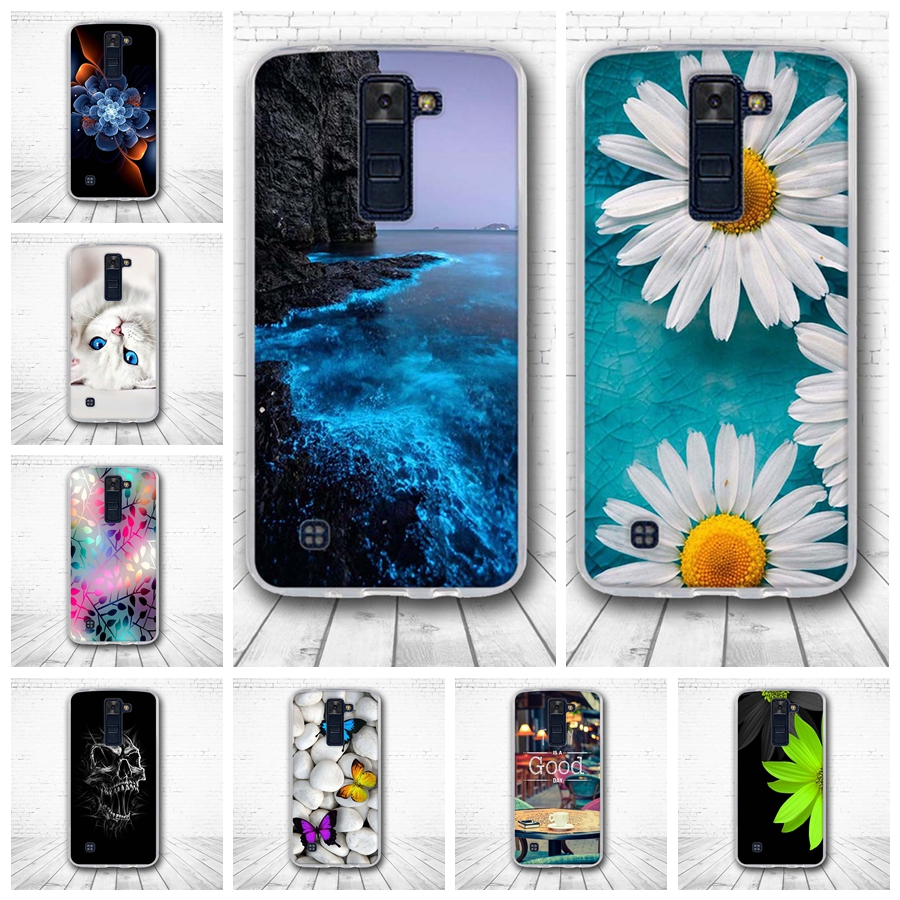 for LG K8/Phoenix 2/Escape 3/K350N Relief 3D Painting Soft Silicon Luxury Back Cover For LG k8 K 8 Cases Protector Funda Capa