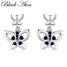 [BLACK AWN] Cute Natural Butterfly 925 Sterling Silver Jewelry Drop Earrings for Women Boucle D'oreille I117 недорого