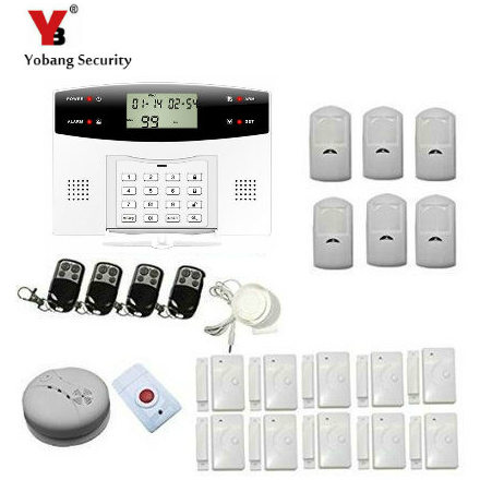 YoBang Security Russian Spanish French Ltalian Czech Wireless LCD GSM Home Security Alarm With PIR Motion Sensor Smoke Alarm.