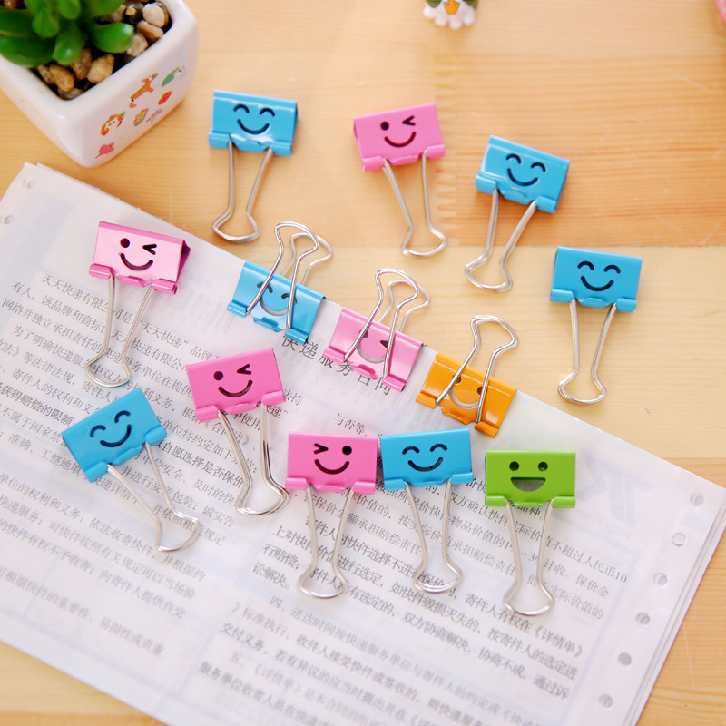 19mm 25mm Binder Clip Colors Smile Metal Clip Bookmark Organizer For Paper Document School Office Supplies