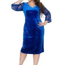 2019 Spring Large Size Dress Thicken Women Velvet Lace Dresses Autumn Female Clothing Plus L-6XL Tunic Vestidos Blue