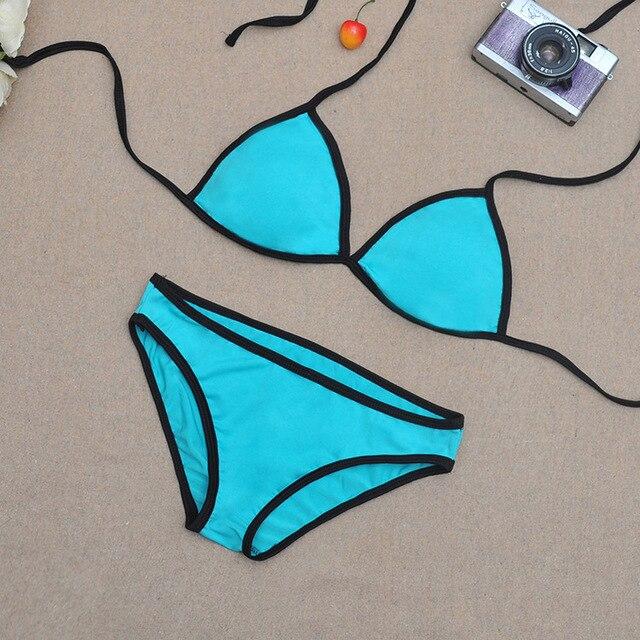Model ledakan tanpa pad dada bikini baju renang, Perpecahan warna hit busana minimalis Eropa dan Amerika perempuan pakaian renang