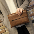 Hot Crazy Horse PU Leather Men Clutch Bags Vintage Large Capacity Men Zipper Hasp Clutches Envelope Purse Portable Phone Handbag