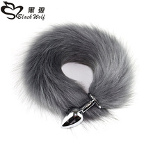 0130008bc2b Black Wolf Fake hair Lovely Fox Tail Butt Metal Plug Long Anal Sex Toy  Animal RolePlay Cosplay Fox Tail Sex Products Shop