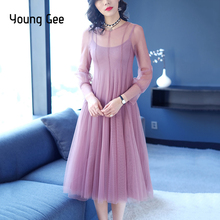 Young Gee Robe Femme Sexy Sheer Mesh Dress Women Elegant Long Sleeve Cute Fairy Rockabilly Swing Wedding Party Dresses vestido