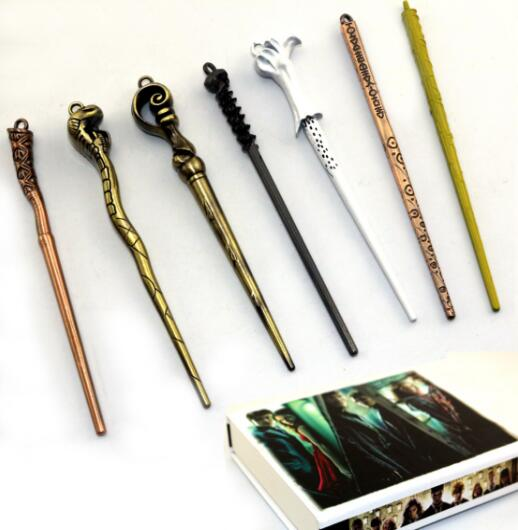 7pcs/set Movie Cosplay Weapon Metal Core Harri Potter Magical Wand/ hermi Potter Stick Gifts Box Packing