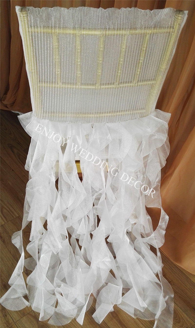 elegant pleats organza chiavari chair back cover curly willow sash skirt for wedding-2