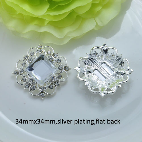 (J0468) vintage metal rhinestone embellsiment,silver or light gold plating ,flat back-in Buttons from Home & Garden    1
