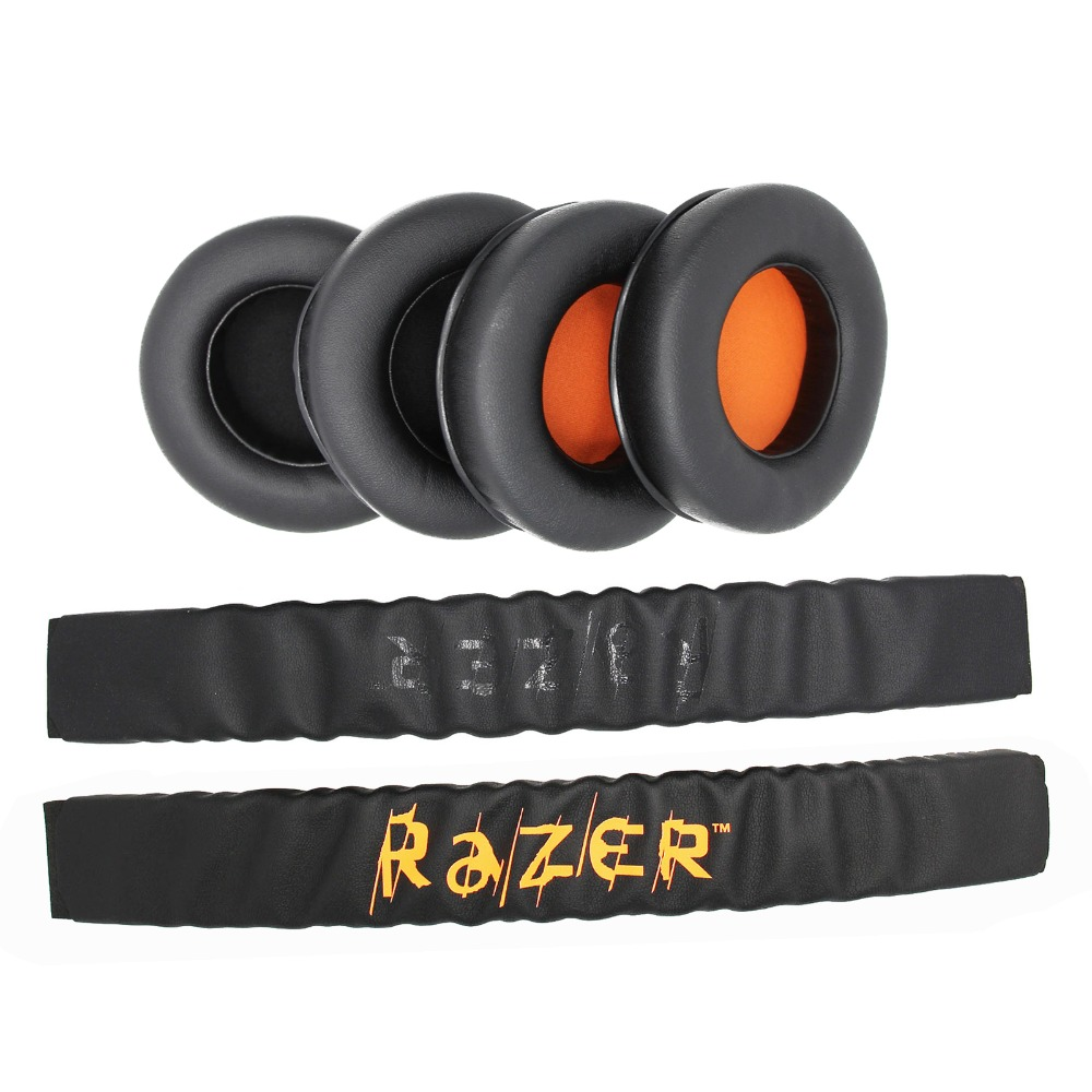 Replacement Top Headband Cushion Pad & Ear Pads Cushions Cover For Razer Kraken Pro 7.1 or Electra Gaming Headphones Headsets