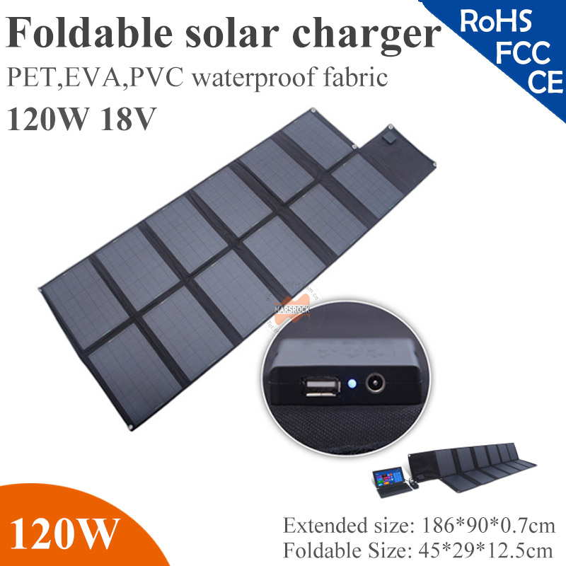 120W 18V flexible solar panel with 54V*2.22mA  output,foldable,waterproof charge 18V laptop,42V battery,iPad,iPhone,camera/MP3