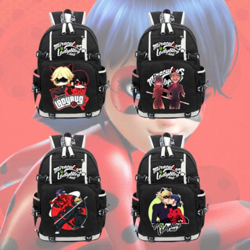New Anime Miraculous Ladybug Cat Noir Backpack Knapsack Packsack Black Travel Shoulder Laptop Bags School Student Bag anime pokemon eevee backpack cosplay pikachu shoulder laptop bags knapsack packsack travel school student bags otaku