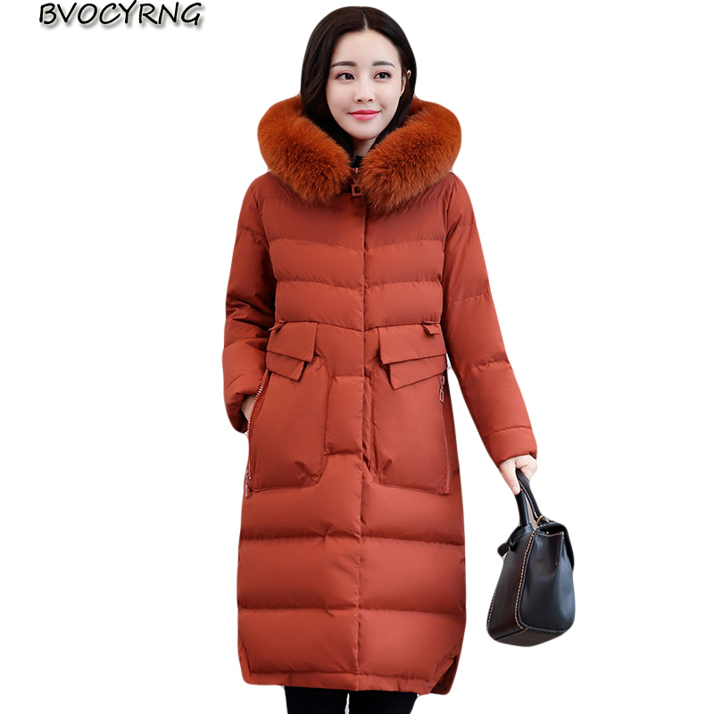 New Winter Thick Wadded Jacket Coat Female Loose Heavy Hair Collar Jacket Warm Winter Down Cotton Parka Women Outerwear A0009 women winter down jacket coat wadded jacket middle age women thickening outerwear female down coat vestidos