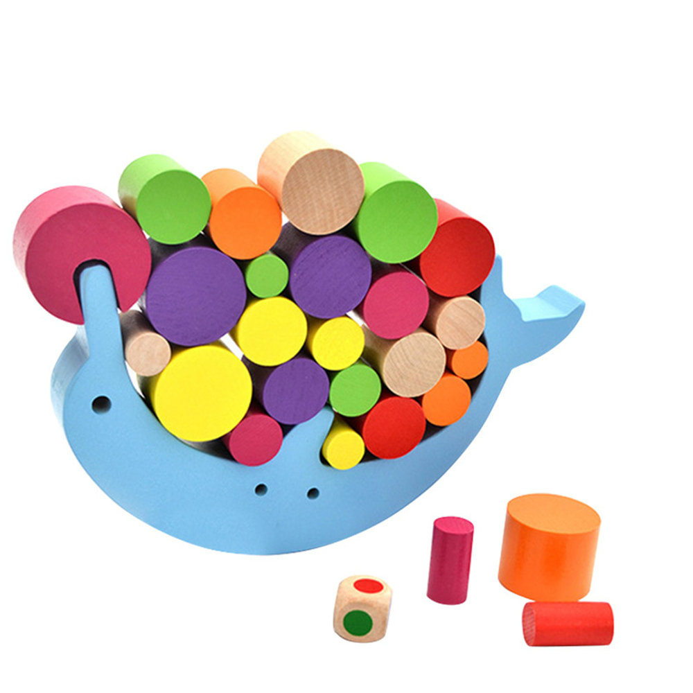 Children Baby Early Learning Educational interactive Toys Wooden Stacking Blocks Toys Dolphin Balance Desk Game Building Blocks
