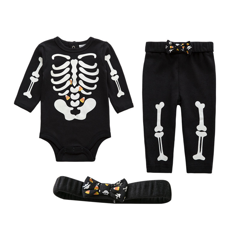 Baby Boy Girl Clothes Romper,Pants & Headband 3-Piece Clothing Set Infant Long Outfits Suit Skeleton Glow in The Night 2pcs set baby clothes set boy