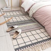 Algodão de linho de malha tapetes área do sofá para a decoração de casa sala estar tapete de cabeceira com borlas tamanho longo tapetes 60*130/180