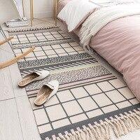 Linnen Katoen Gebreide Tapijten Sofa Karpetten Voor Thuis Decor Woonkamer Bed Vloermat Met Kwasten Lange Size Tapijten 60*130/180-in Tapijt van Huis & Tuin op