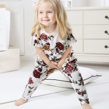 Girls Clothing Sets New Summer Style Casual Clothes Children Floral Print T Shirt +Haren Pants Suit 1-5Y