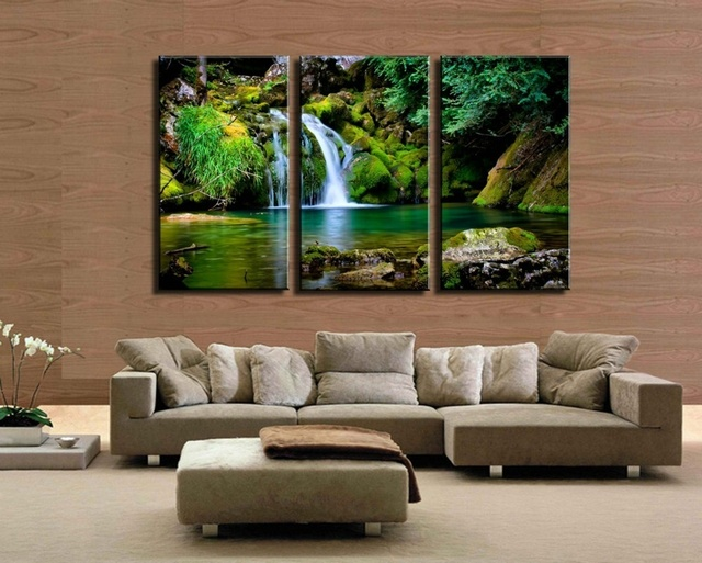 3 pieces green water castle peak waterfall painting canvas wall art picture home decor living room