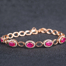 Robira Noble Natural Ruby Bracelets for Women 18K Gold Prong Setting Rubies and Diamond Gemsone Fine Jewelry Bracelet