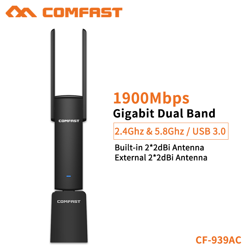 COMFAST USB Wifi Adapter 1900Mbps 2.4Ghz & 5.8Ghz Dual Band wifi Dongle Plug And Play AC Network Card USB Wifi Antenna CF-939AC