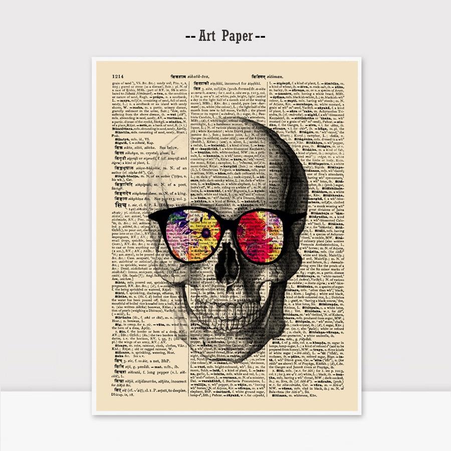 Suger Skull Dictionary Art Paper Vintage Newspaper Skull Wall Hanging Gift for Children Flower Wall Art Kids Room K108