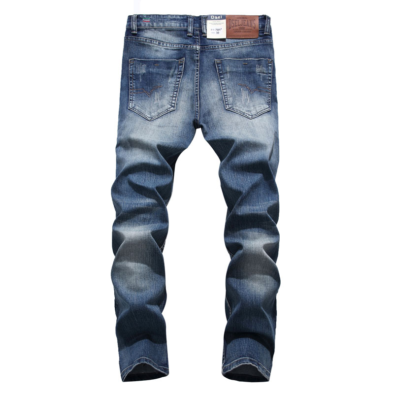 2019 New Dsel Brand Fashion Designer   Jeans   Men Straight Blue Color Printed Mens   Jeans   Ripped   Jeans  ,100% Cotton,701-A