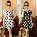 2017 Fashion Women Lady Casual Short Sleeves Loose Polka Dot Print Mini Dress T Shirt Black and White Round Neck