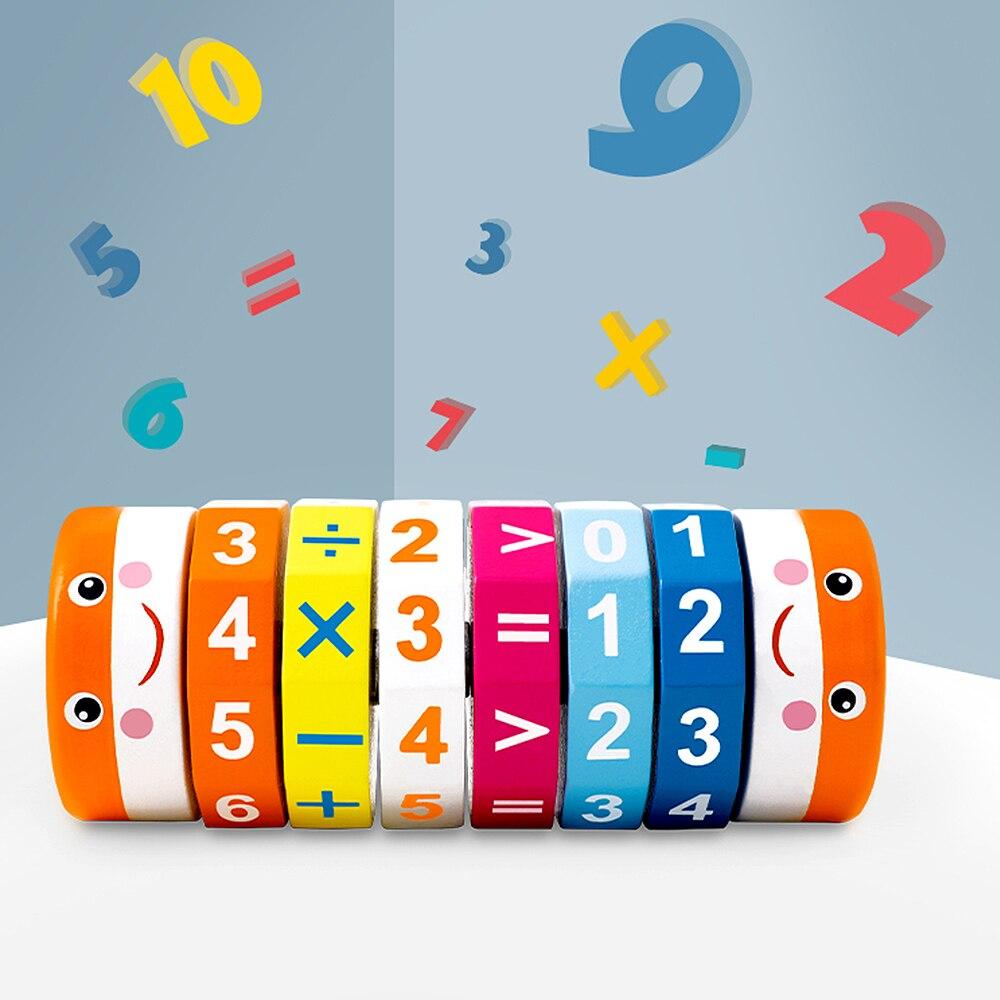 Enfants bébé en bois arithmétique cylindrique Cubes Cognition numérique bébé enseignement aides enfants maths jouets 3Y + cadeau de noël nouveau