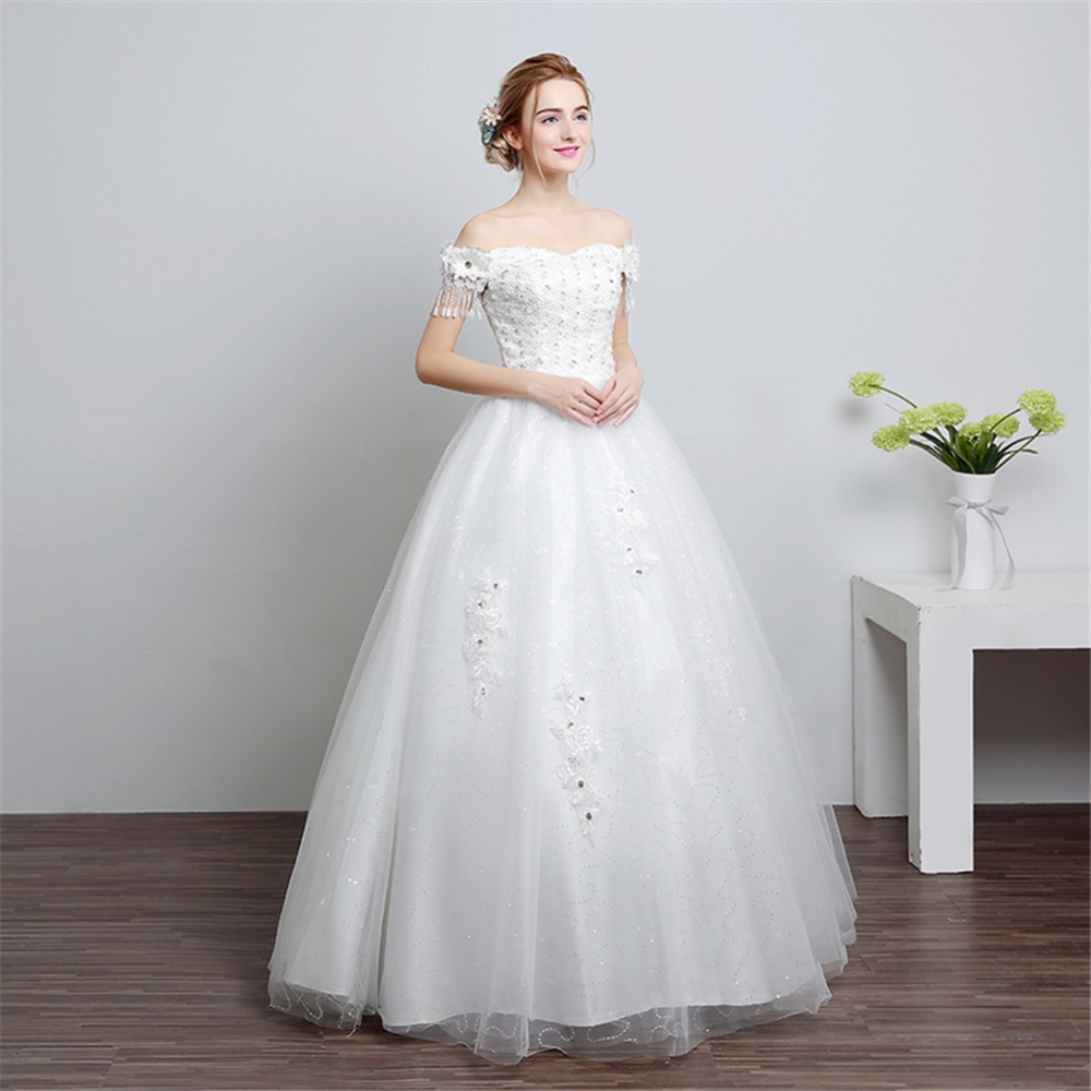 ruthshen Real Photo Bridal Dress 2018 Korea Sequined Lace Wedding Dress  Princess Wedding Gowns Cheap Off Shoulder-in Wedding Dresses from Weddings    Events ... 59e2b50ed295