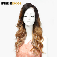 FREEDOM T Part Lace Front Ombre Blonde Wig 22 Inch Long Wavy Synthetic Wigs Full I Part Wigs 3 Colors Choice Free Shipping