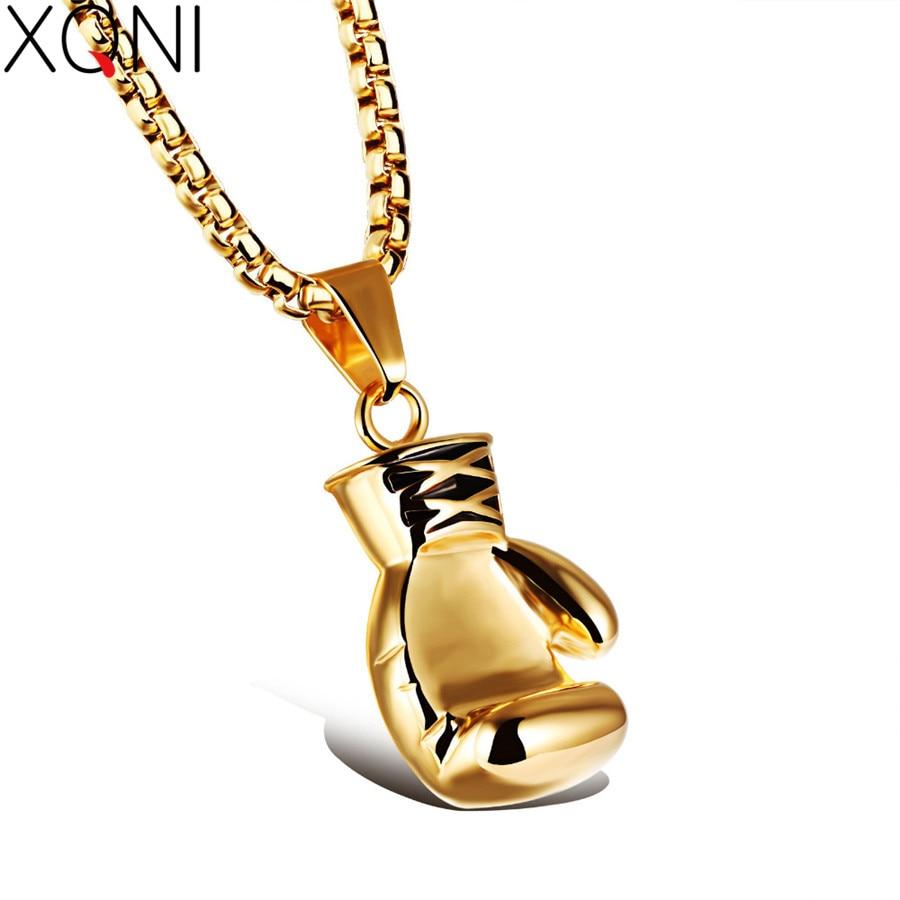 Xqni Men Necklace Black Silver Gold Color Boxing Chain