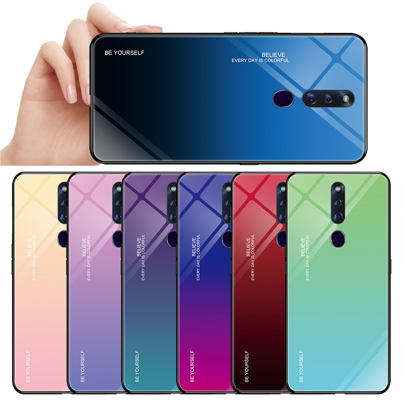 Gradient Tempered Glass Phone <font><b>Case</b></font> For <font><b>OPPO</b></font> R17 F11 K1 R15X R19 Reno 10X zoom Realme 3 Pro <font><b>Find</b></font> X K3 Lite Back <font><b>Case</b></font> Cover Coque image