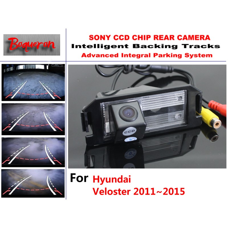 Smart Tracks Chip Camera / For Hyundai Veloster 2011~2015 HD CCD Intelligent Dynamic Parking Car Rear View Camera for mazda 6 mazda6 atenza 2014 2015 ccd car backup parking camera intelligent tracks dynamic guidance rear view camera
