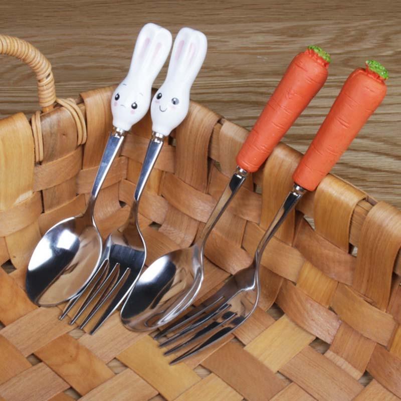 Hot Sale Cartoon Cutlery Set Stainless Steel Children Baby Kid Tableware Fork Cute Dining Appliance