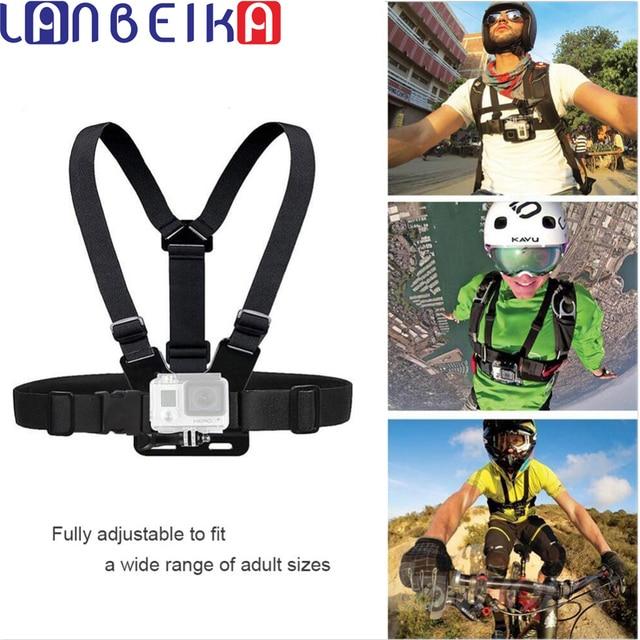 LANBEIKA Có Thể Điều Chỉnh Ngực Body Harness Belt Strap Núi Cho Gopro Anh Hùng 7 6 5 4 3 SJCAM SJ4000 SJ5000 SJ6 SJ7 SJ8 YI Phụ Kiện
