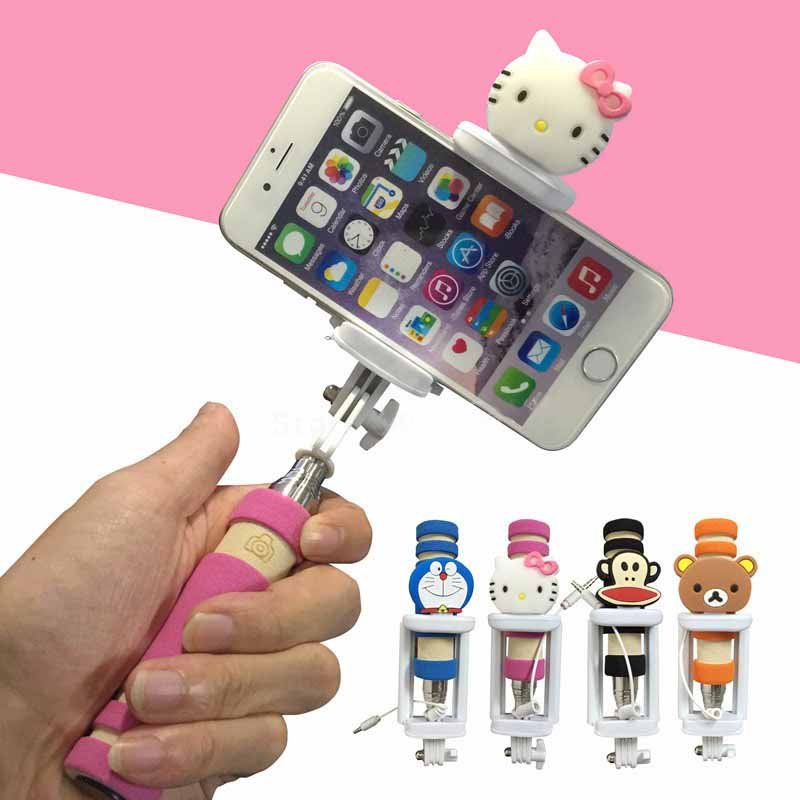 mini cartoon universal selfie stick monopod for iphone 6 plus 5s 4s wired palo selfie for. Black Bedroom Furniture Sets. Home Design Ideas