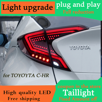 D-YL Car styling for Toyota CHR Taillights 2017-2018 C-HR CH-R Toyota Tail Led Tail Lights Fog Rear  DRL + Brake + Park + Signal