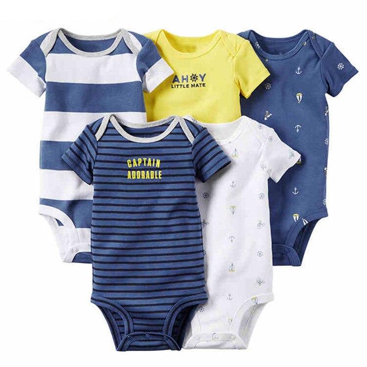 Baby Newborn Boys Girls Clothing Set Summer Cotton Short Sleeve One-piece Dress Set of 5 Children's Clothing Sets