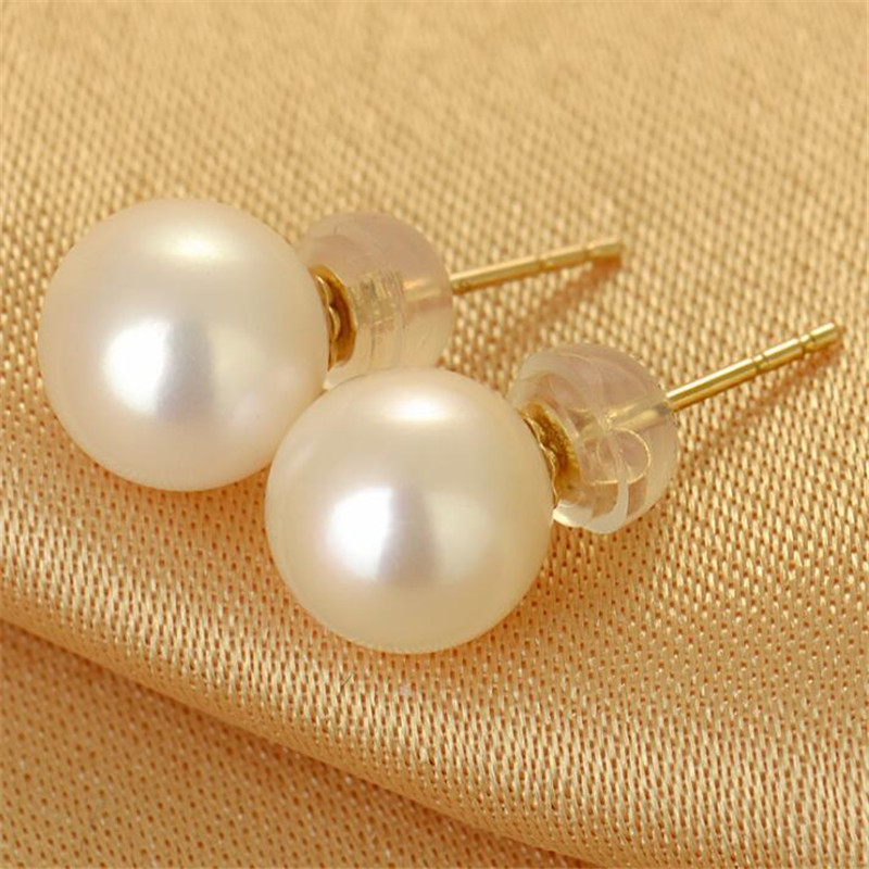 Real Freshwater Pearl 18K Gold Stud Earrings White Pink Purple Natural Pearls Earrings For Women Size 7 5 8mm 8 5 9mm 9 10mm in Earrings from Jewelry Accessories