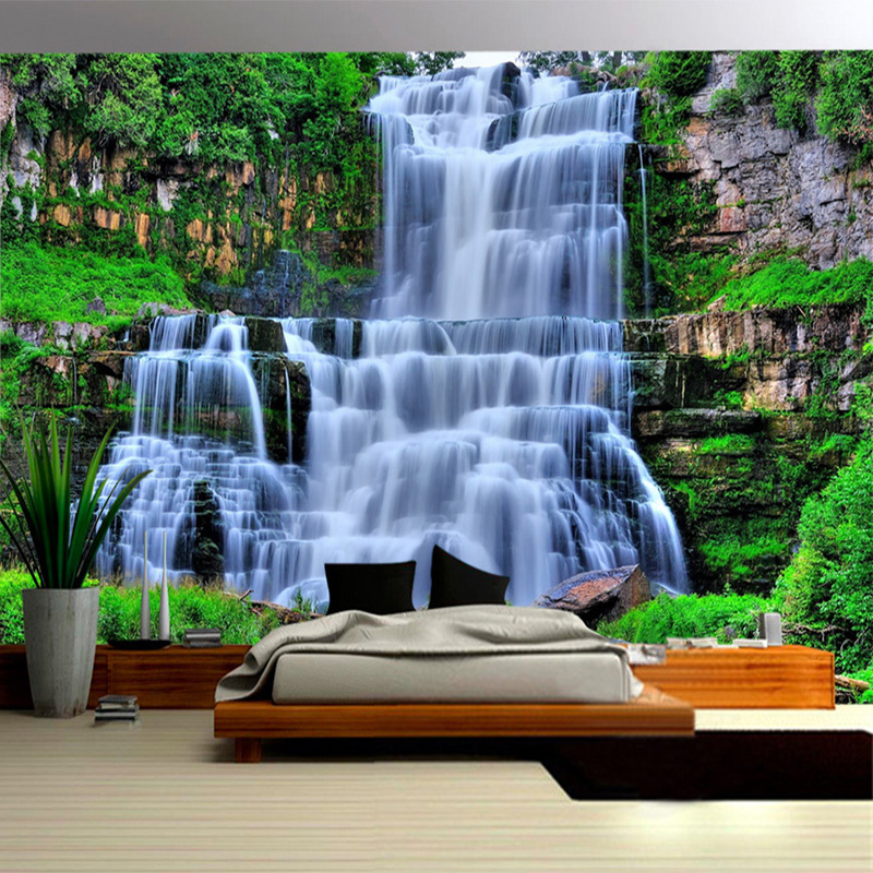 Photo Wallpaper 3D Stereo Mountain Forest Waterfall Landscape Mural Background Wall Covering Living Room Bedroom Home Decor 3 D free shipping pine forest 3d landscape background wall living room bathroom bedroom home decoration wallpaper mural