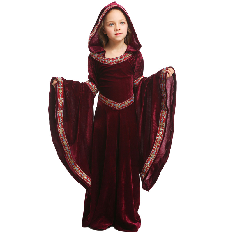 Image 4 - Umorden Kids Child Teen Girls Medieval Sorceress Pagan Witch Costume Gothic Velvet Hooded Dress Halloween Carnival Costumes-in Girls Costumes from Novelty & Special Use