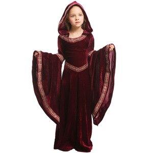 Image 4 - Umorden 子供十代の女の子中世ソーサレス異教魔女衣装ゴシックベルベットフード付きの衣装