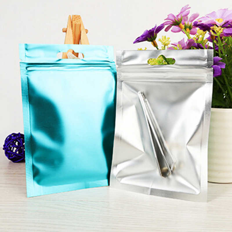 Colorful Foil Food Packaging Bag Heat Seal Aluminum Foil Ziplock Bags Flat Zip Lock Package Bag Food Grade 8*13cm/10*18cm/9*15cm