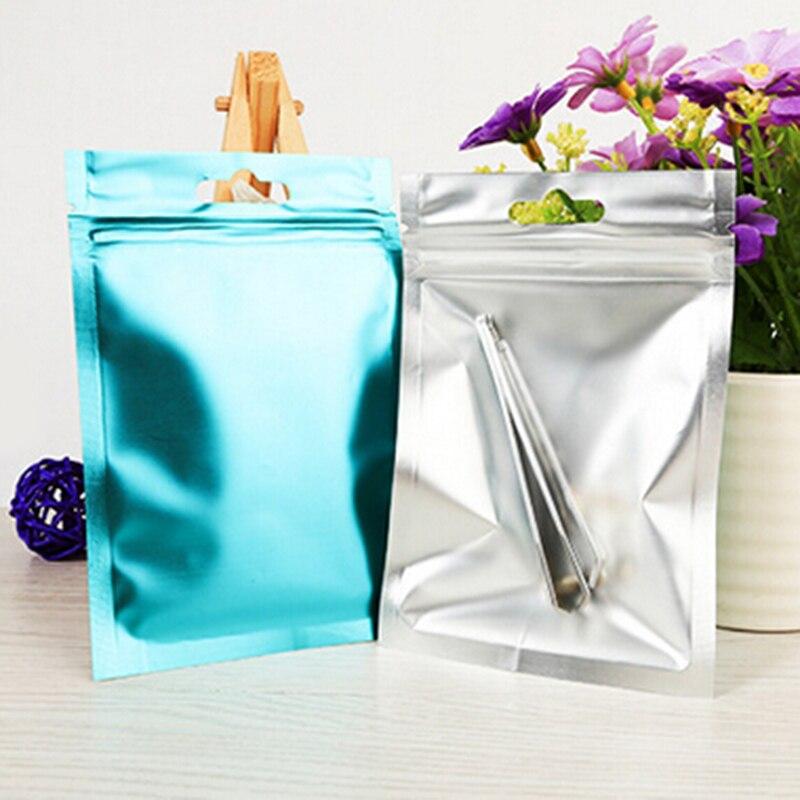 4 Colors Small Aluminum Foil Food Packaging Bag Heat Seal Foil Ziplock Bags Flat Zip Lock Package Bag Food Grade 8x13cm
